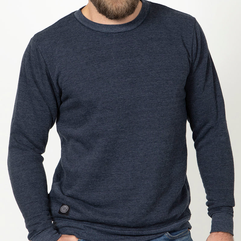 On Sale Limited Time Only! Navy Blue Heather Tri-Blend Terry Crewneck Sweatshirt - One Piece Size M Available