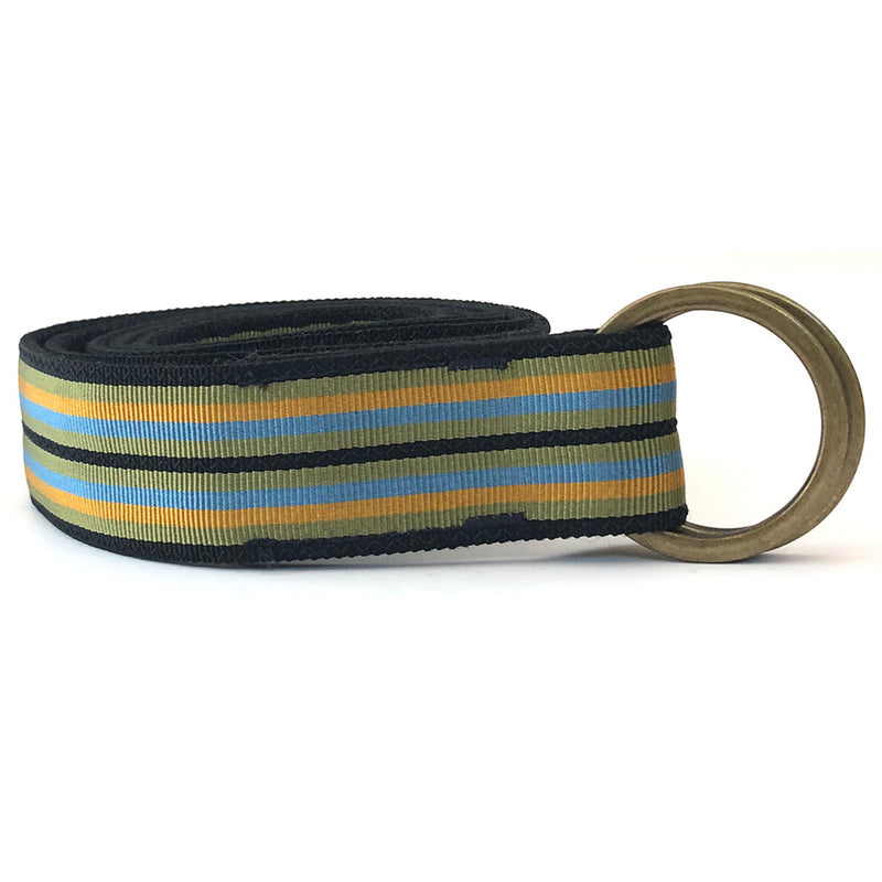 Olive, Black & Khaki Multi Stripe Belt by One Magnificent Beast