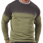 Olive Green & Charcoal Grey Dip Dye Crewneck Sweatshirt - Made in USA Size S Available