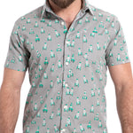 Grey with Flying Rocketship Print Shirt - Ritts Sizes M & L Available