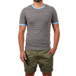 Grey Heather & Sky Blue Short Sleeve Tri-Blend Ringer Tee