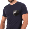 Navy with Black Faux Leather Pocket Tee - Sizes S, XL & XXL Available