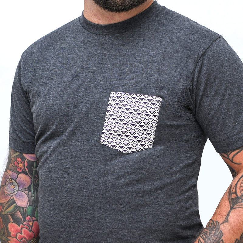 Grey Heather With White Waves Print Pocket Tee