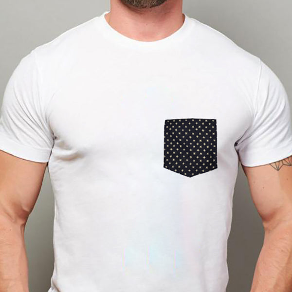 White with Denim Stars Print Pocket Tee