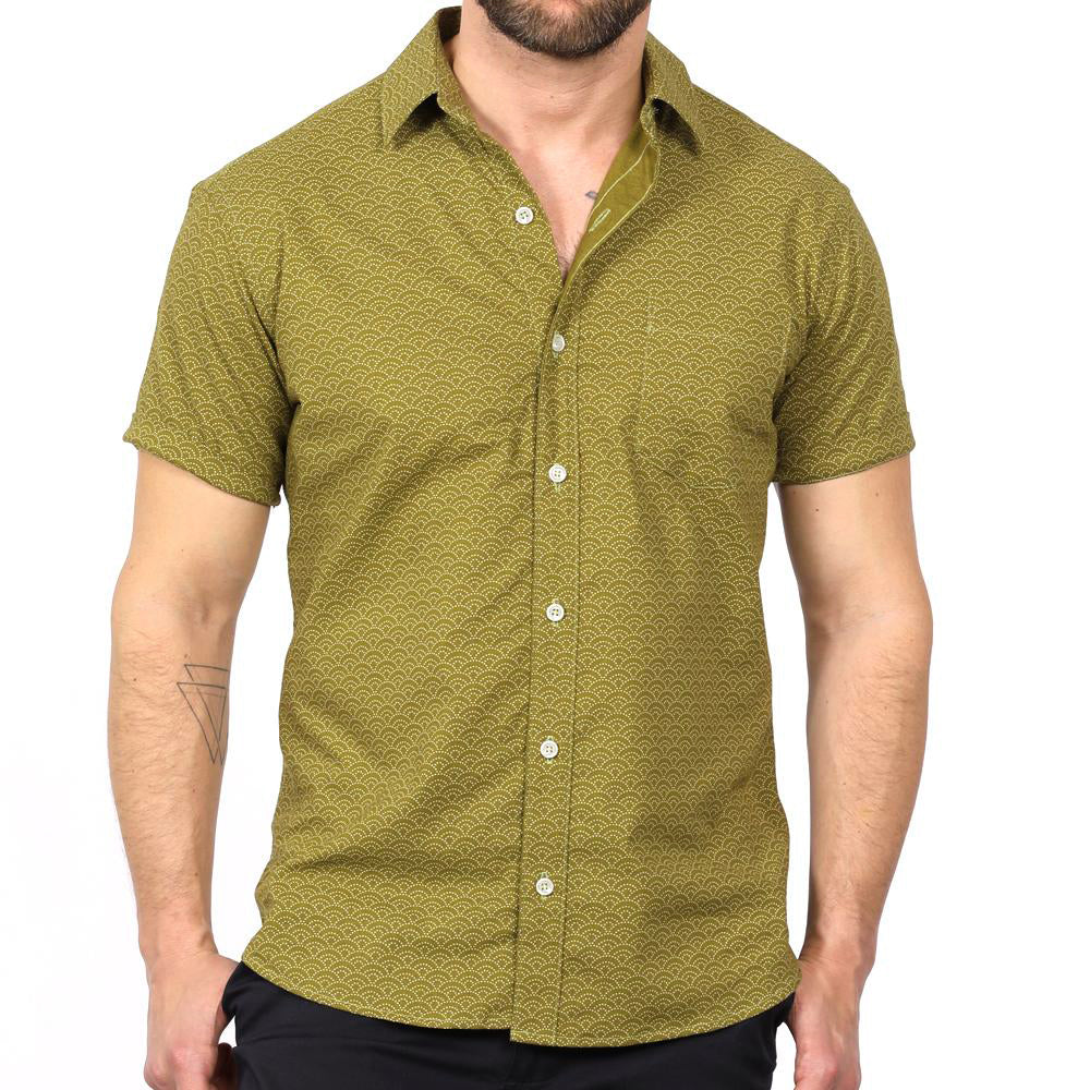 Light Olive Green Wave Print Short Sleeve Shirt - Ollie Sizes S & L Available
