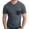 Grey with Blue & Black Camo Print Pocket Tee - Size XXL  Available