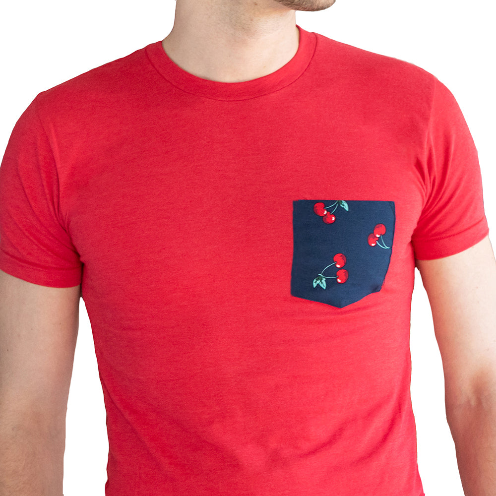 Red Heather with Cherry Print Pocket Tee