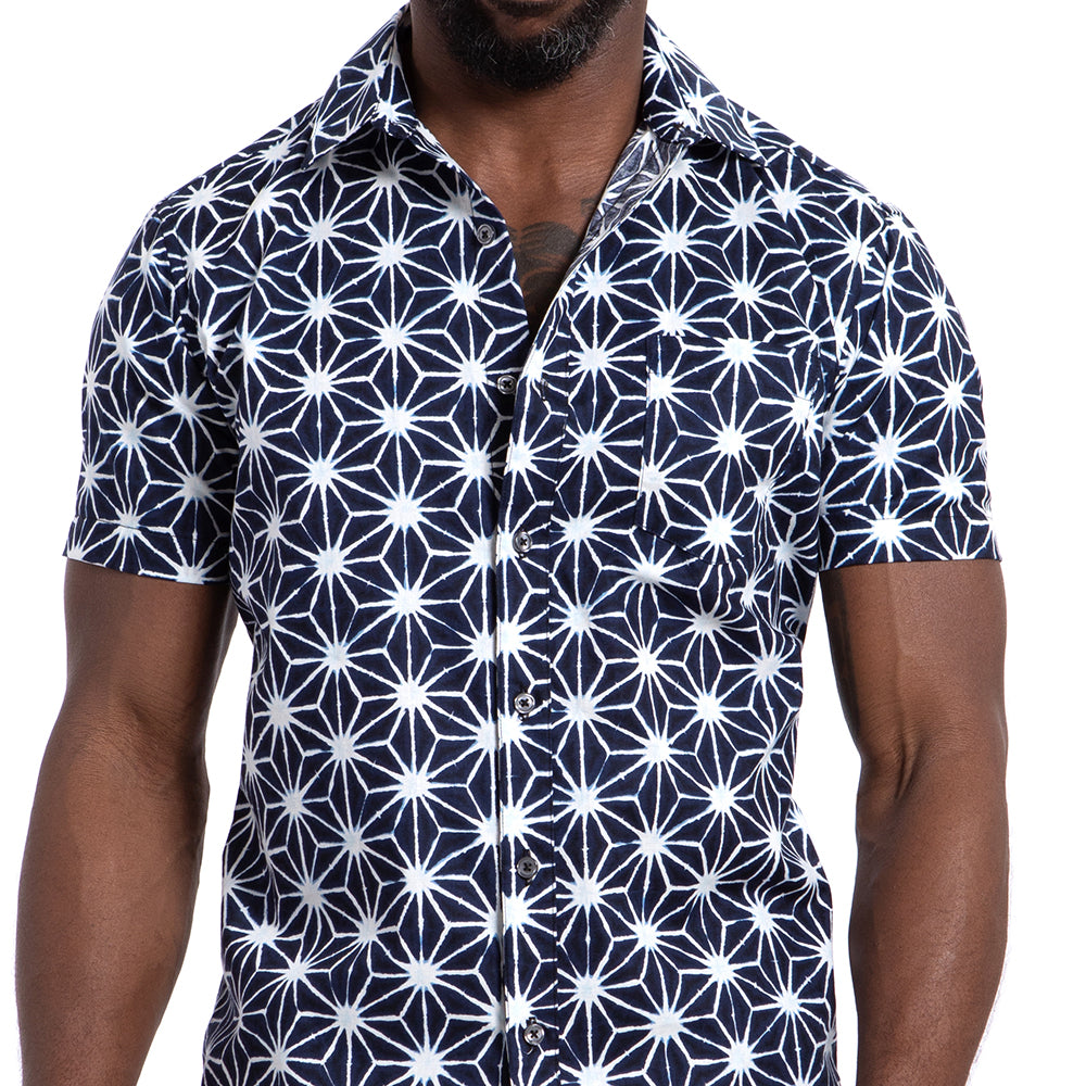 Graffiti Inspired Blue & White Inky Japanese Floral Print Shirt