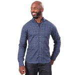 Tonal Blue Melange Plaid Brushed Cotton Shirt - 'Chief'