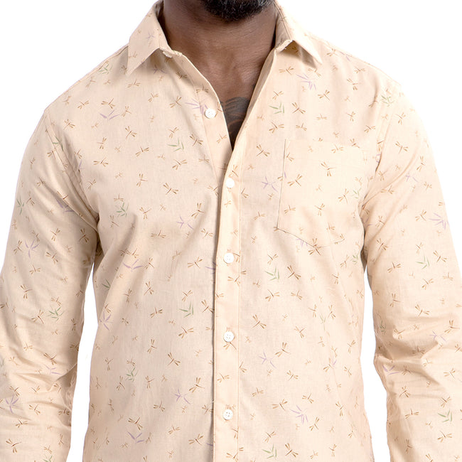 Cream Japanese Dragonfly Print Shirt - 'Larkin'