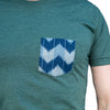 Green Heather with Blue Denim Wave Pocket Tee Size S Available