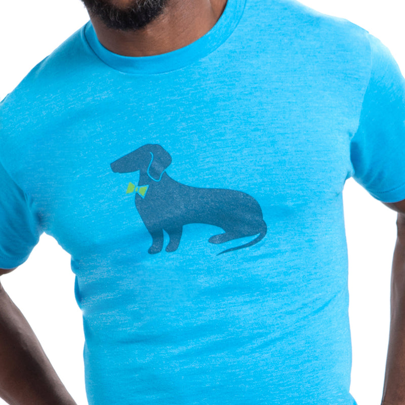Bright Aqua Blue Heather Dachshund Tee