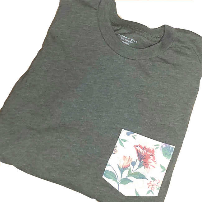 Olive Heather With Floral Print Pocket Tee