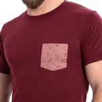 Burgundy Heather with Pink Dragonflies Print Pocket Tee
