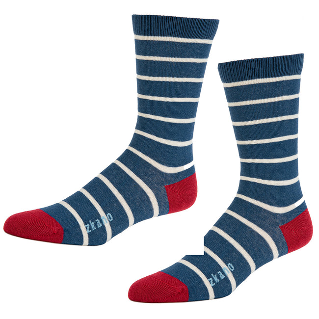 Navy Blue & White Even Stripe Socks