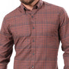 Burgundy, Charcoal & Camel Plaid Brushed Cotton Shirt - 'Mellon' - Size XXL Available