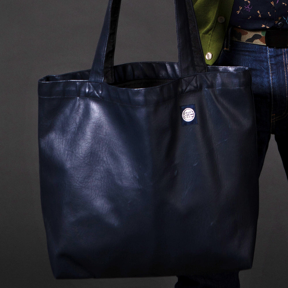 Navy Blue 'Faux' Leather & Grey Denim Reversible Tote Bag