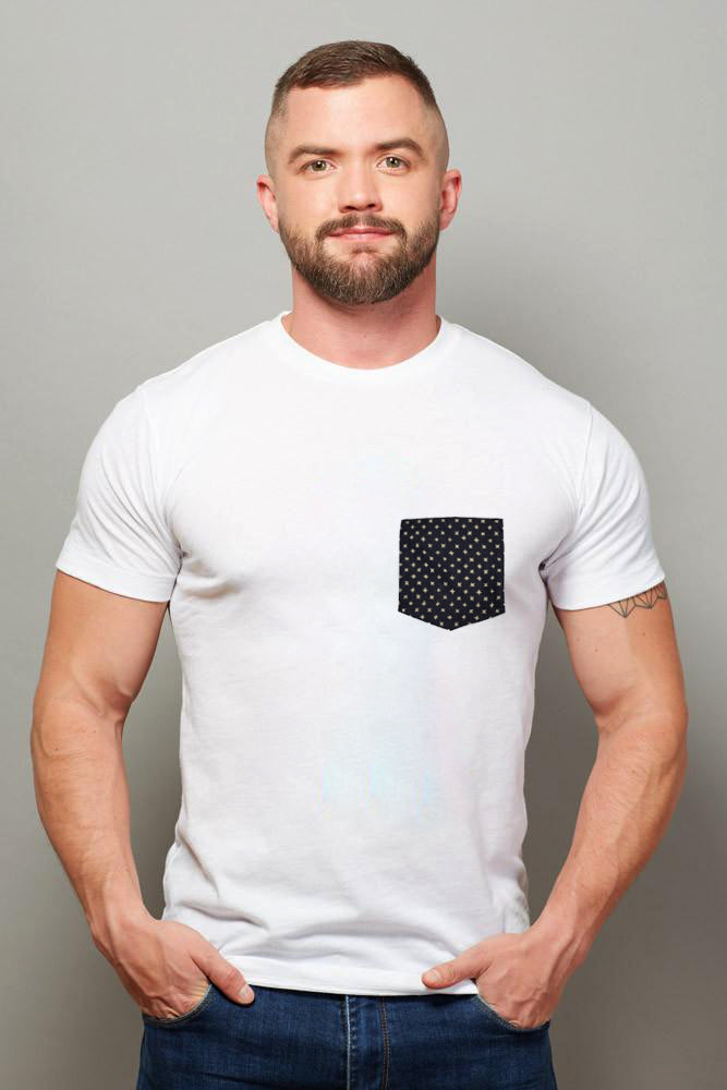 A Few Pieces Just Found! White with Denim Stars Print Pocket Tee Sizes L & XL Available