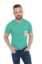 Green Heather with Froot Loops Print Pocket Tee