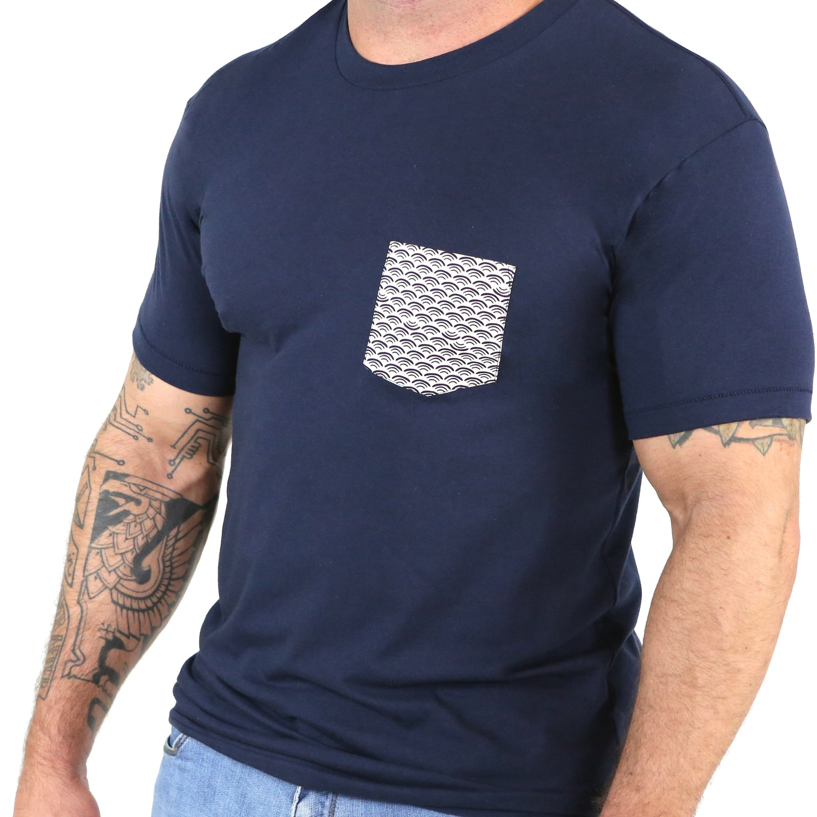 Navy with Wave Print Pocket Tee  Only Size S Available
