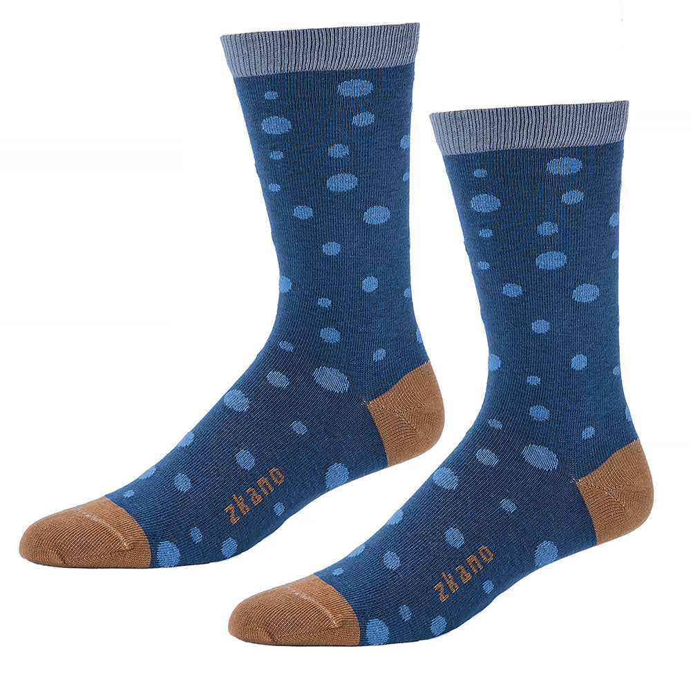 Tonal Blue Polka Dots with Camel Accent Socks