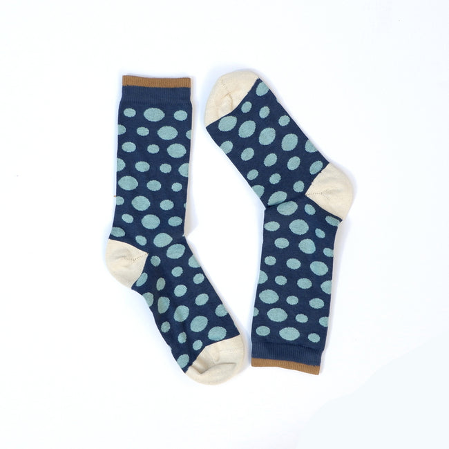 Navy Blue with Mint Polka Dots Socks