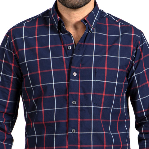 White, Burgundy & Pale Blue Brushed Flannel Plaid Shirt - 'Marsden'