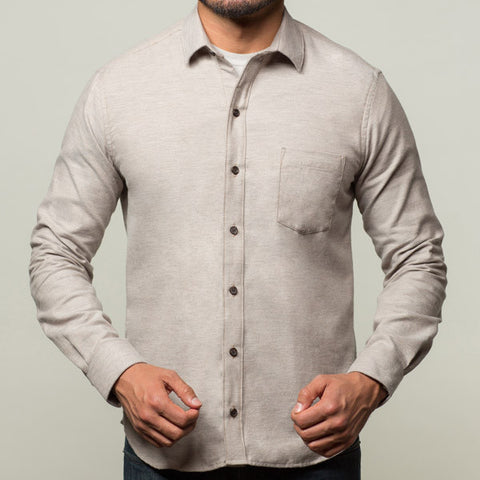 Oatmeal Heather Brushed Cotton Shirt - Peter