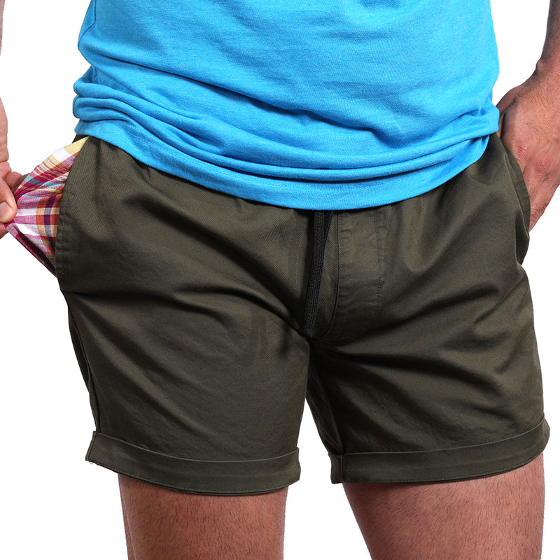 "The ""Paradise"" Stretch Twill Short in Olive Green"