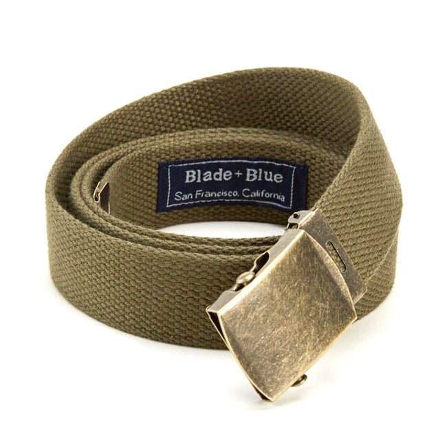Olive Green Cotton Web Military Belt