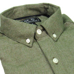 Olive Melange Brushed Cotton Shirt - 'McCoy'