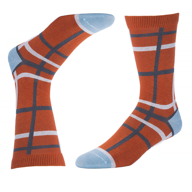 Orange, Grey & Ice Blue Open Windowpane Pattern Socks