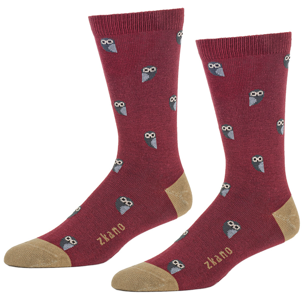 Brick Red Owl Print Socks
