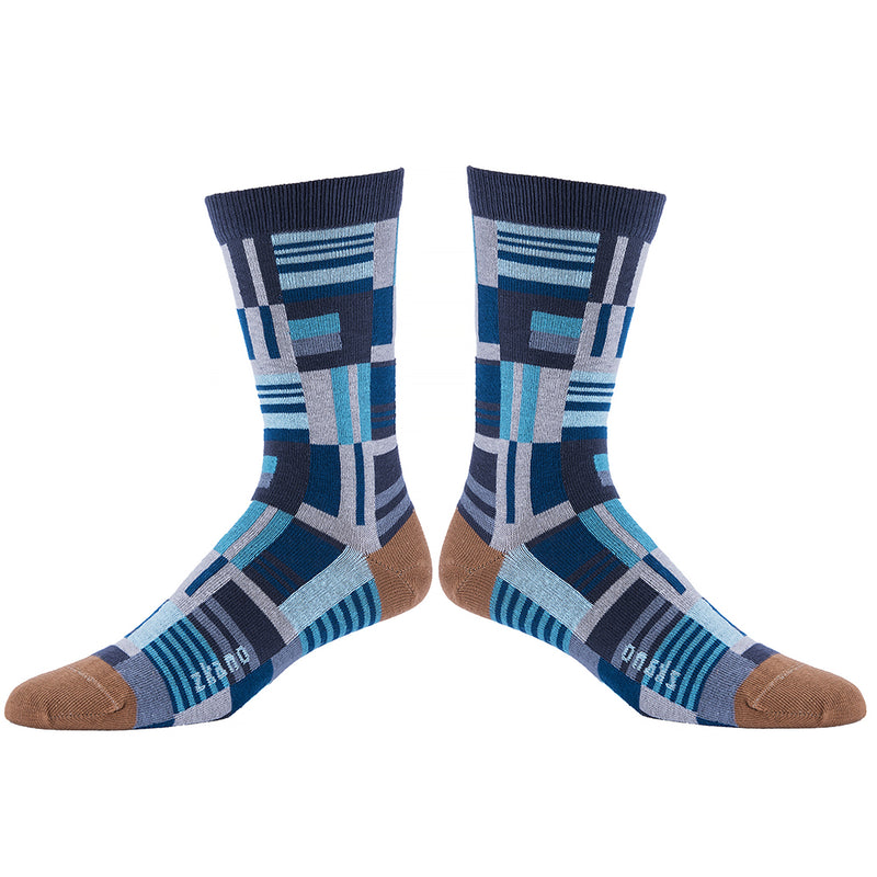 Blue & Grey Patchwork Pattern Socks