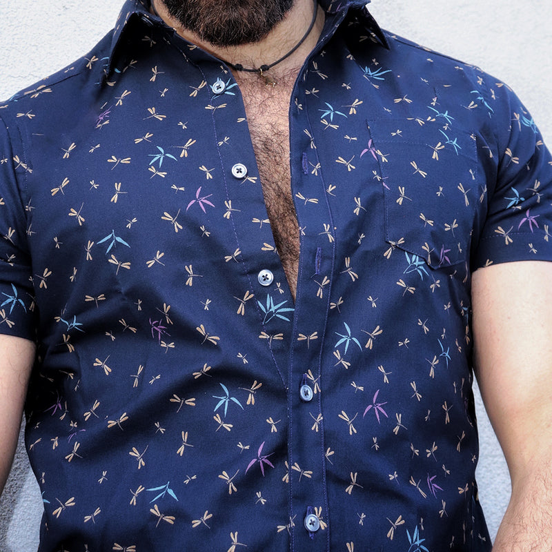 Navy Blue Japanese Dragonfly Print Shirt - Pierre