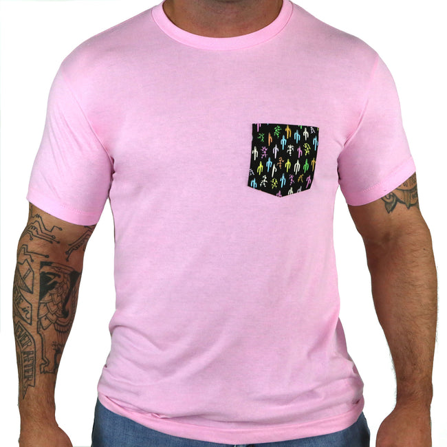 Pink with Multi-Color Cactus Print Pocket Tee