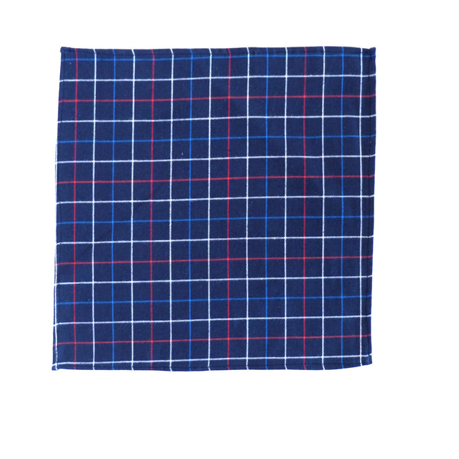 Navy, Red & White Plaid Brushed Cotton Pocket Square