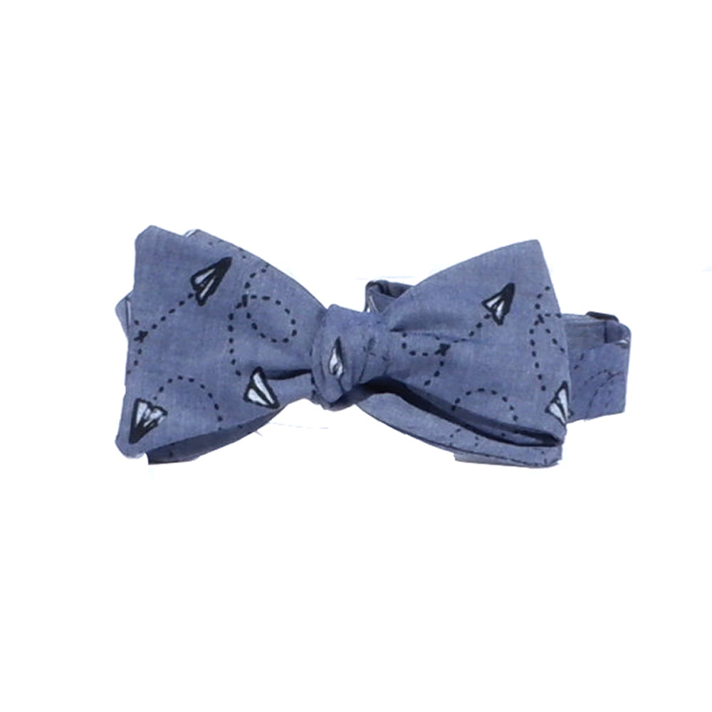 Blue Chambray Paper Planes Print Bow Tie