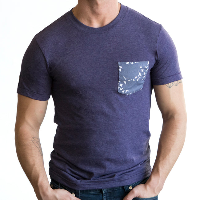 Purple Heather with Flying Birds Print Pocket Tee