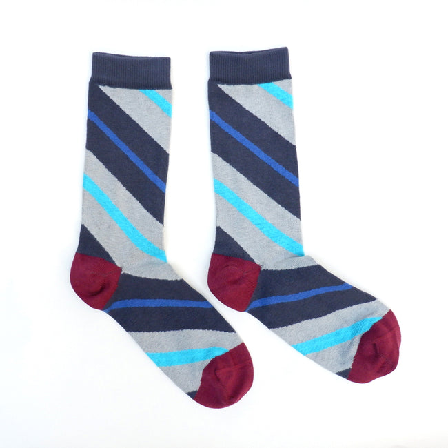 Grey, Navy Blue, Red & Aqua Diagonal Stripe Socks