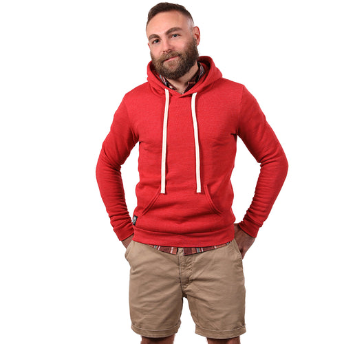 Red Heather Popover Hooded Fleece Sweatshirt - Made in USA