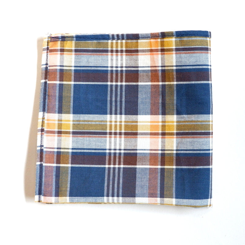 Royal Blue, Gold & Coral Plaid Cotton Pocket Square