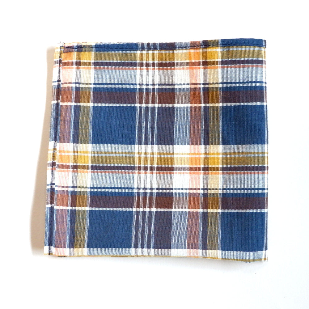 Royal Blue, Gold & Coral Plaid Cotton Tie