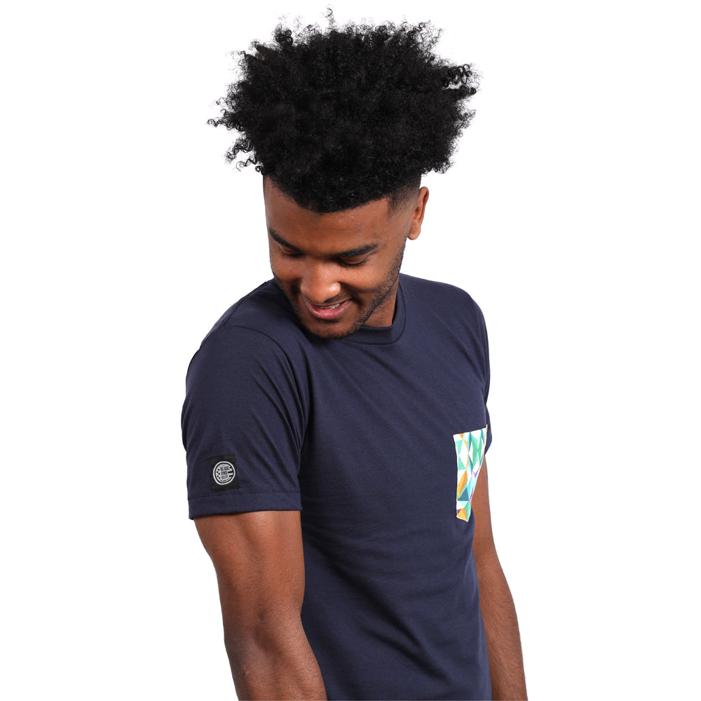 Navy Blue with Kaleidoscope Print Pocket Tee