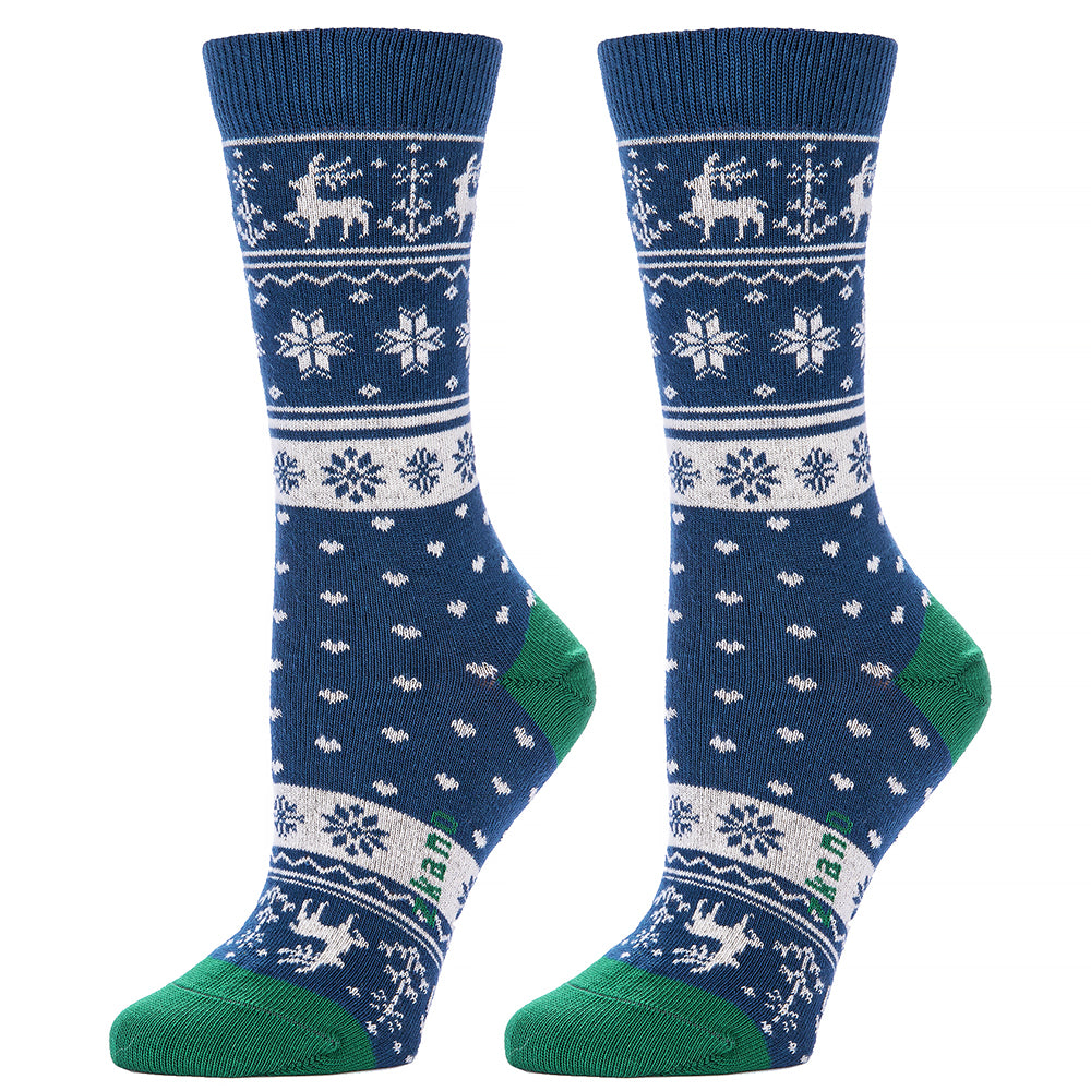 Blue Reindeer Snowflake Graphic Socks
