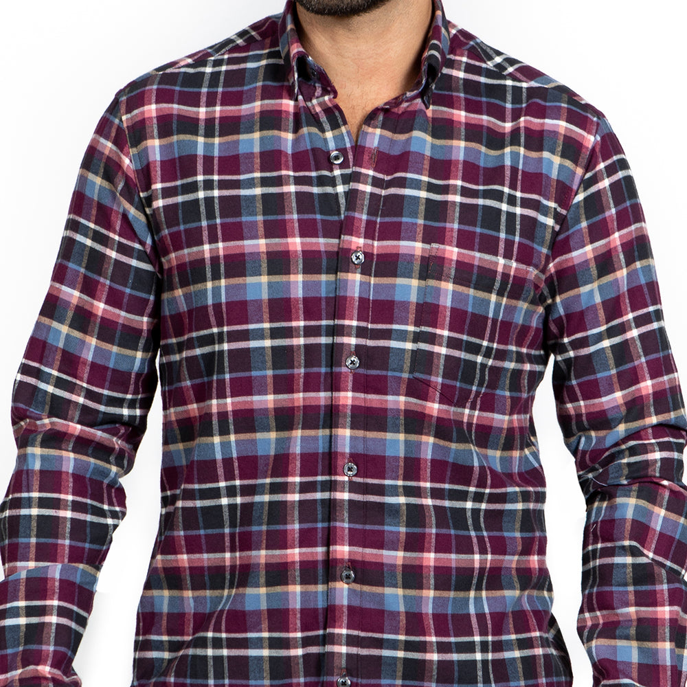 Tonal Purple & Blue Plaid Brushed Flannel - 'Foreman'
