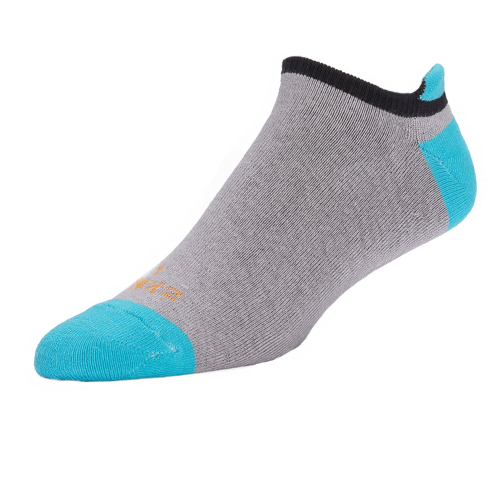 Grey, Black & Aqua No-Show Ped Socks