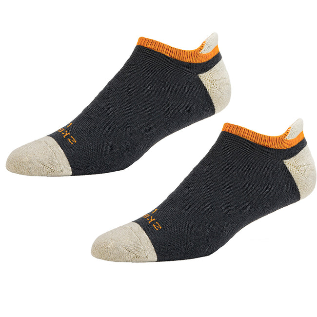 OMG He is back! Charcoal Grey, Natural & Orange Accent No-Show Ped Socks