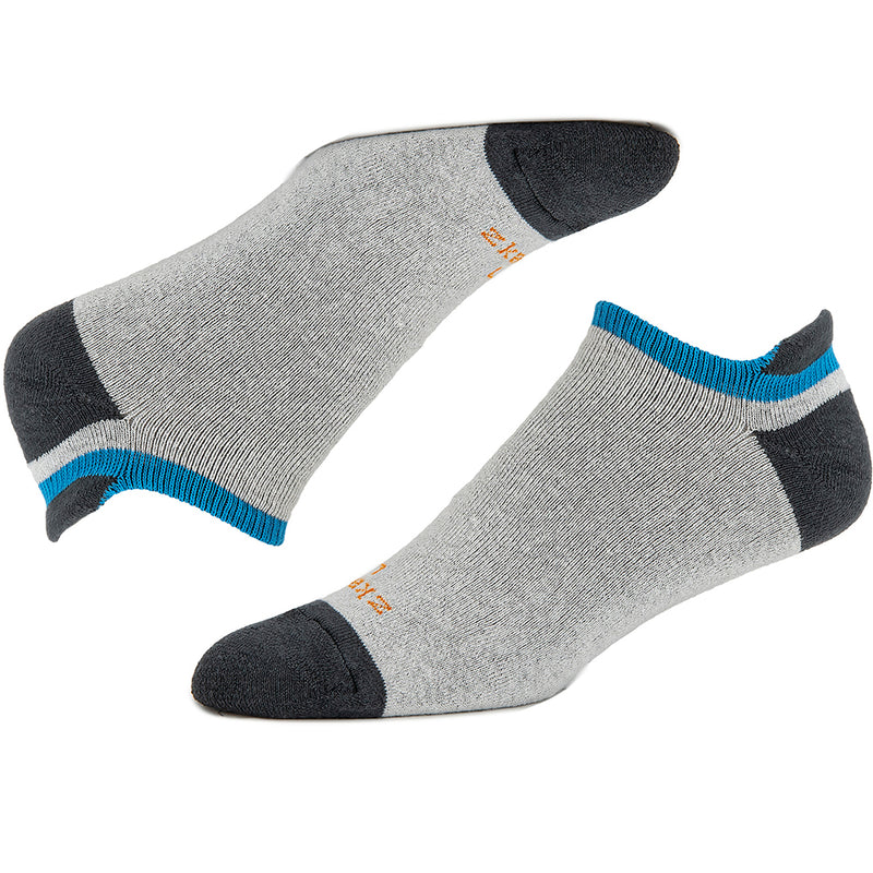 OOH New COLOR! Heather Grey, Charcoal & Aqua Accent No-Show Ped Socks