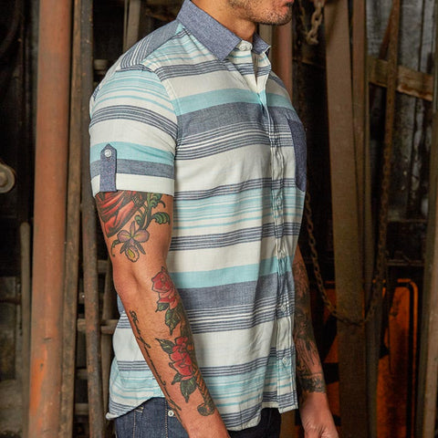 Blue & Cream Horizontal Stripe Short Sleeve Shirt - Ronald